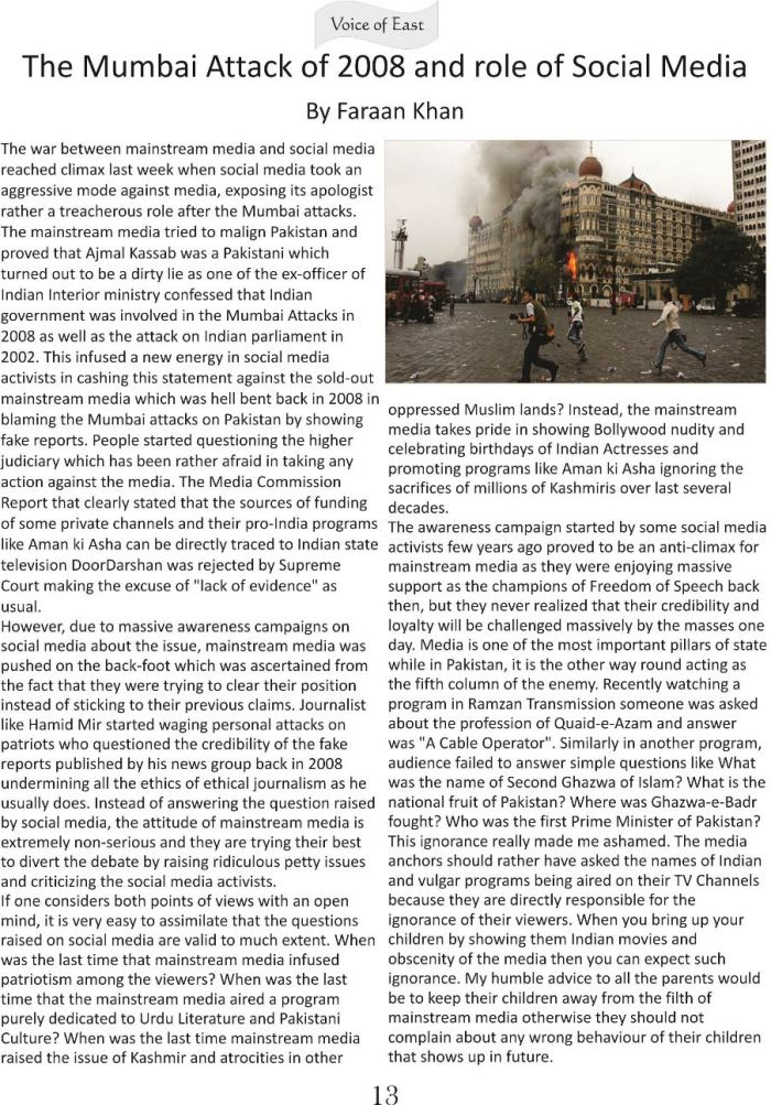 Mumbai Attack of 2008 and role of Social Media