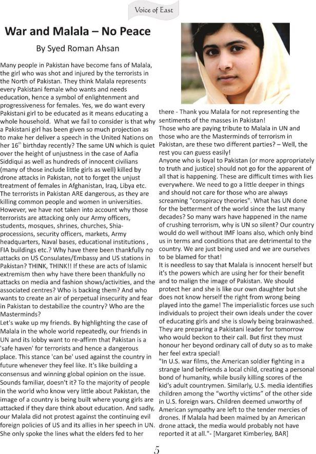 War and Malala - No Peace