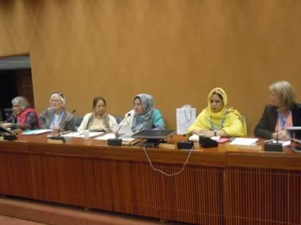 Kashmiri activist Shamim Shawl chairs an international panel at UN building in Geneva