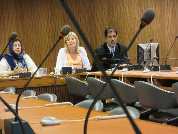 Altaf Hussain Wani, Mrs. Shamim Shawl and Daniela Donges speak at a major Kashmir event at UN in Geneva on Tuesday, where two Kashmiri women activists from Srinagar spoke to UN delegates.