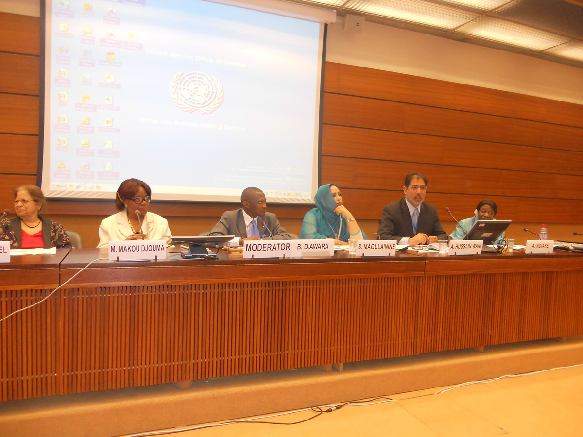 Altaf Hussain Wani sits in a panel discussion on the role of Kashmir women, at UN in Geneva