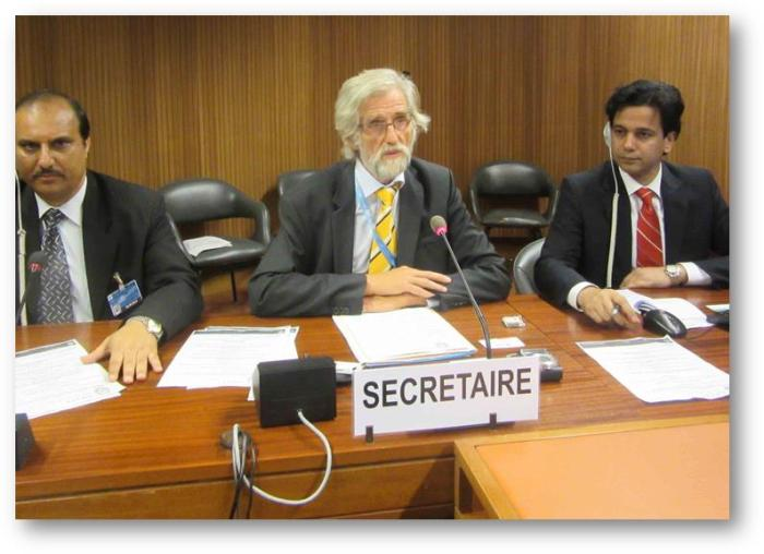 APHC leader Faiz Naqshbandi (L) and Ahmed Quraishi (R), Executive Director of Youth Forum for Kashmir (YFK) with an international human rights expert at UN, Geneva