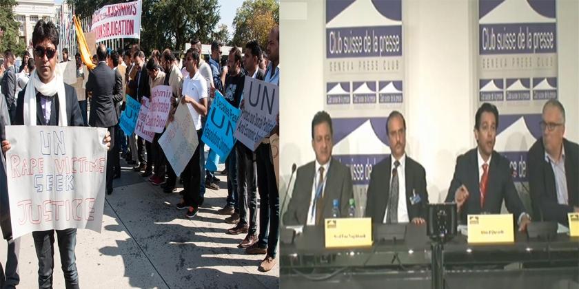 Ahmed Quraishi, Altaf Wani, Sardar Amjad, Faiz Naqshbandi & Mrs. Shamim Shawl Are Addressing The Press Conference & Protest