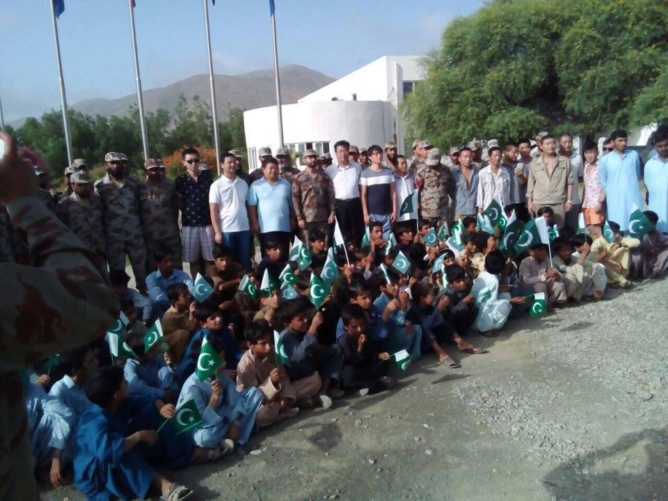 Chinese Engineers with School Children Celebrating 14 August 2016 in Khuzdar Balochistan