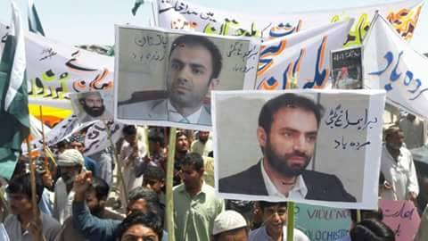 Posters against Brahamdagh Bugti in Balochistan. On one poster it is written 'Death to Brahamdagh Bugti'